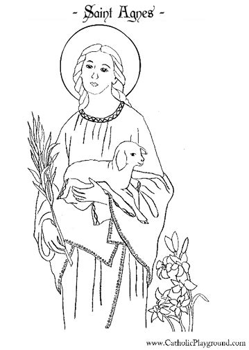 St Agnes Coloring Page agnes coloring page january 21st catholic playground