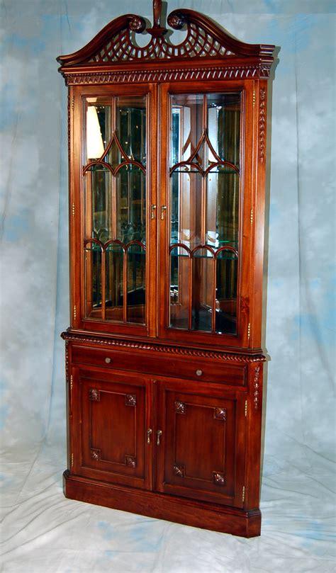 mahogany china curio display corner cabinet ebay
