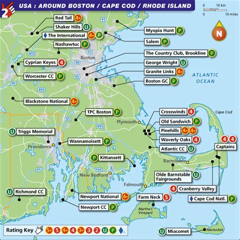is there a from boston to cape cod boston cape cod and rhode island golf map with top golf