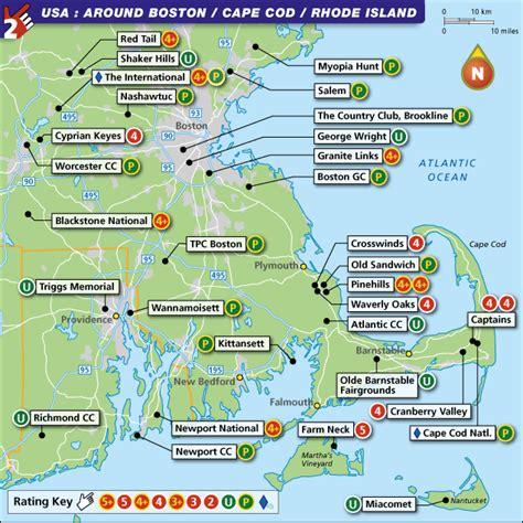 boston cape cod boston cape cod and rhode island golf map with top golf