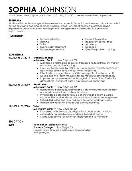 finance manager resume exles best branch manager resume exle livecareer