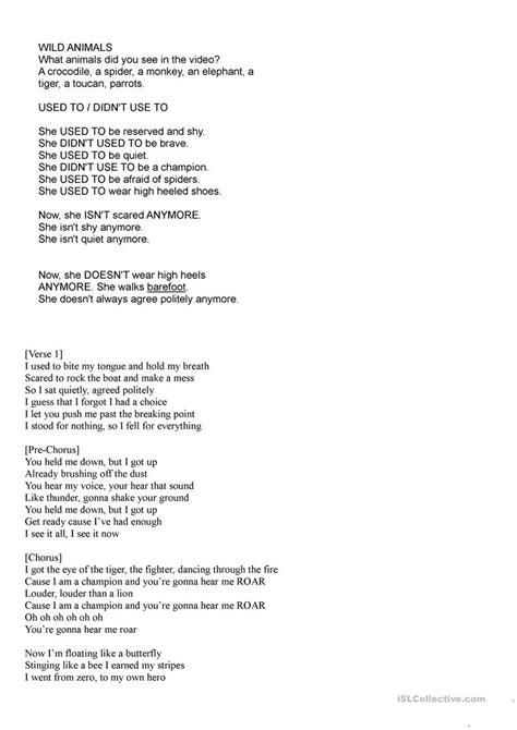 printable lyrics roar song katy perry roar worksheet free esl printable