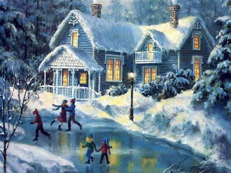 images of christmas paintings christmas winter scenes free desktop wallpaper winter