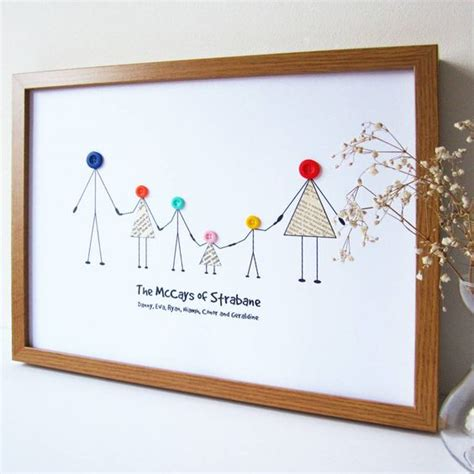 Handmade Prints - personalised family button print scrabble family tree