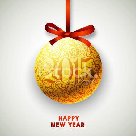 happy new year 2015 celebration with hanging xmas stock