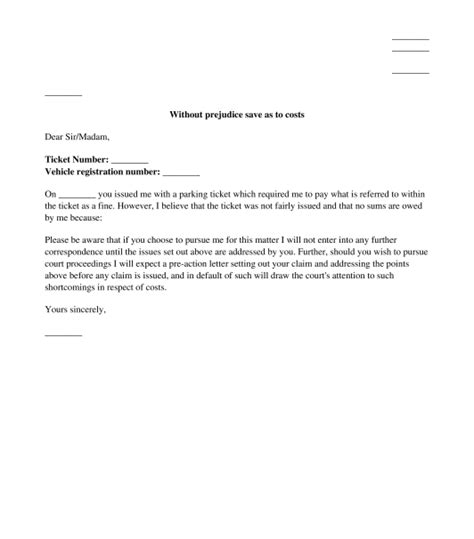 Letter Template Appeal A Parking parking appeal letter sle template