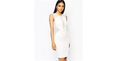 lipsy lace mesh insert bodycon dress white in white lyst