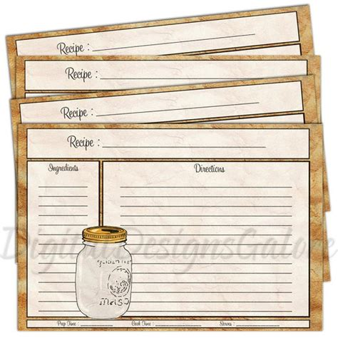 diy printable recipe cards printable recipe cards pdf 4x6 size diy recipe cards