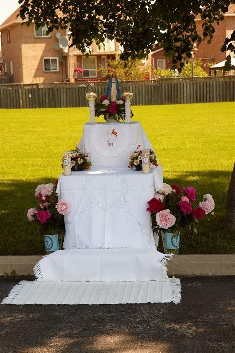Altar setting for Corpus Christi   *COMMUNITY EVENTS