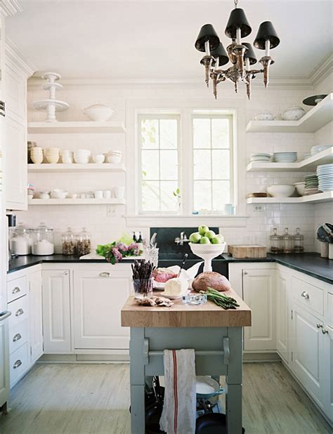 kitchen island with open shelves 19 design ideas for small kitchens