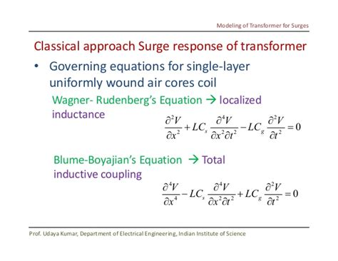 transformer coupling equations modelling of transformer for surges by udaya kumar iisc