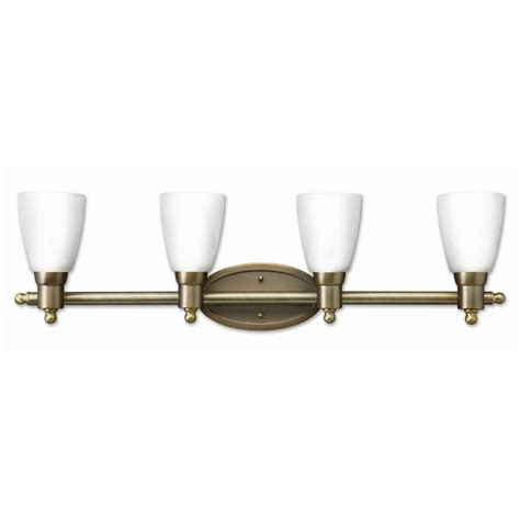 Antique Vanity Lights Shop Earth Lighting 4 Light Danube Antique Brass Bathroom Vanity Light At Lowes