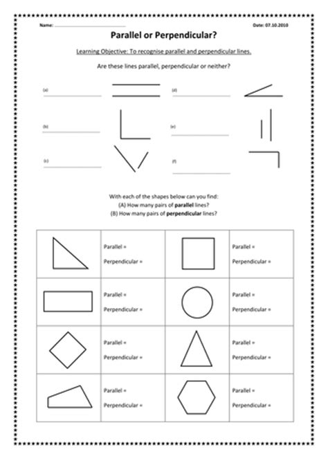 Parallel And Perpendicular Lines Worksheet Pdf by Parallel And Perpendicular Lines By Kimberley Lloyd