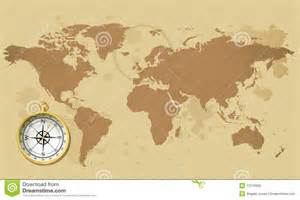 World Map With Compass by Old World Map With Compass Royalty Free Stock Photo