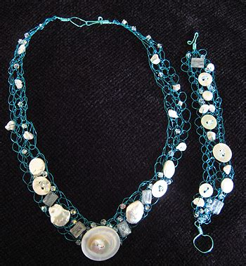 blue wire necklace and bracelet