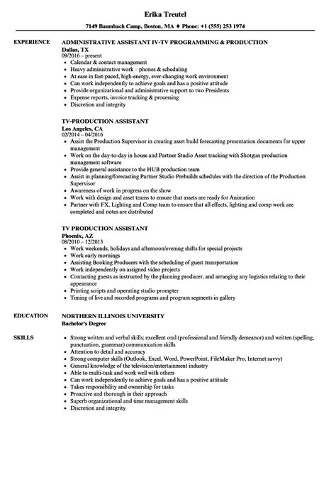 Production Assistant Resume by Tv Production Assistant Resume Sles Velvet