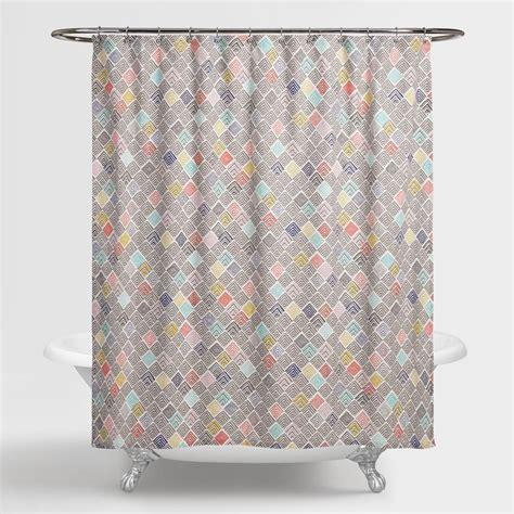 geometric shower curtain geometric multicolor shower curtain world market
