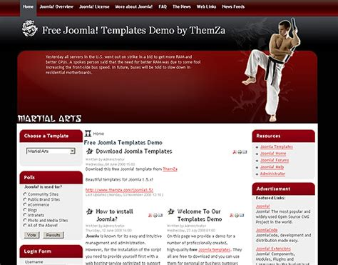 website templates for karate martial arts free joomla 1 5 template by themza