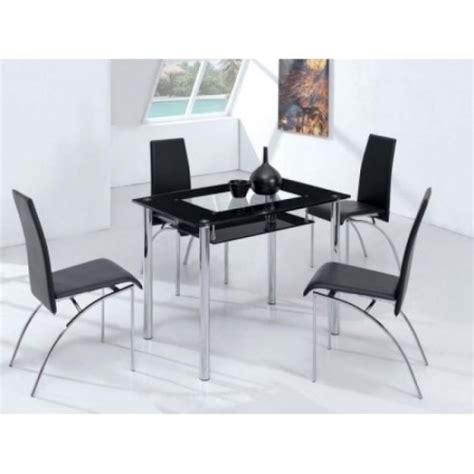 Small 4 Chair Dining Table Small Compact Glass Dining Table With 4 D211 Chairs Black B M Dining Table And Chairs B M Dining