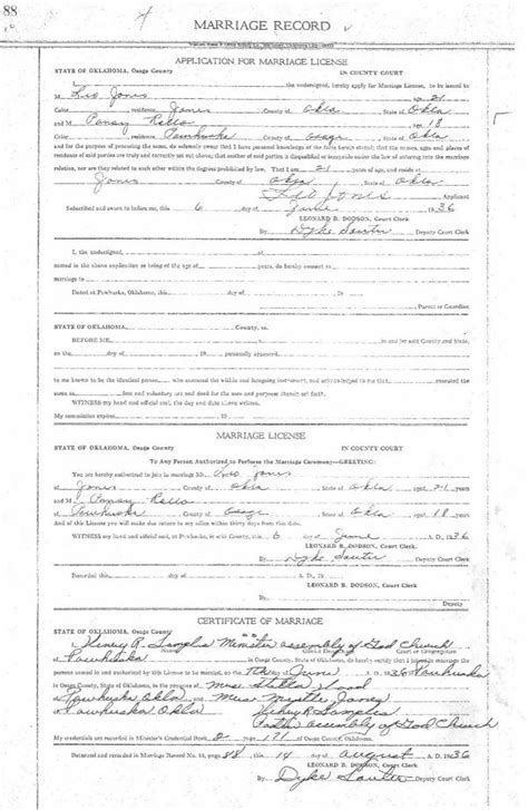 Oklahoma Marriage Records Untitled Document Www Usgwarchives Net