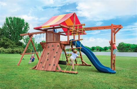 redwood swing sets wholesale pot o gold playset with monkey bars tire swing and slide
