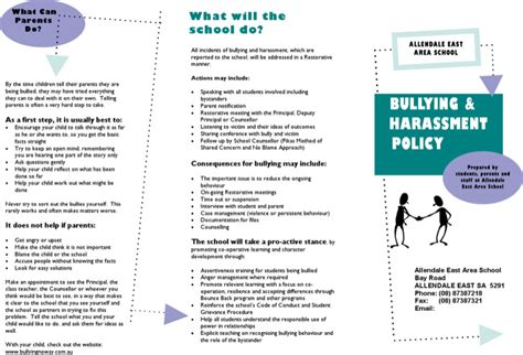harassment and bullying policy template bullying brochure template free premium