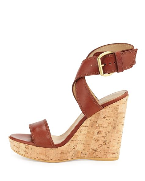 stuart weitzman crossover leather wedge sandal in brown lyst