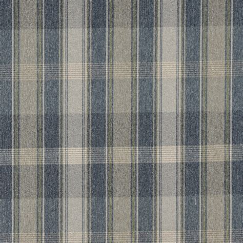 Country Upholstery Fabric Blue Green And Ivory Large Plaid Country Upholstery