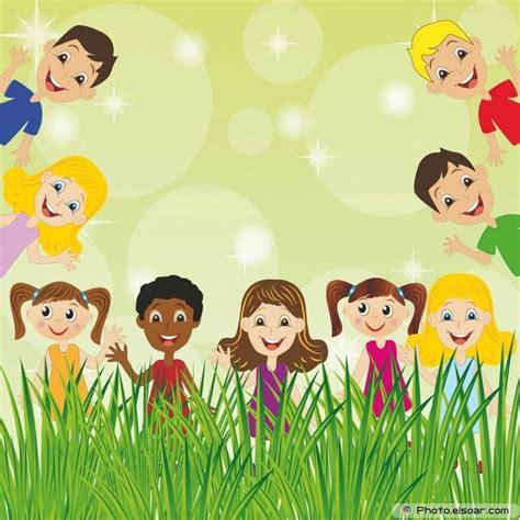 background design cartoon little child on green background for design escuela