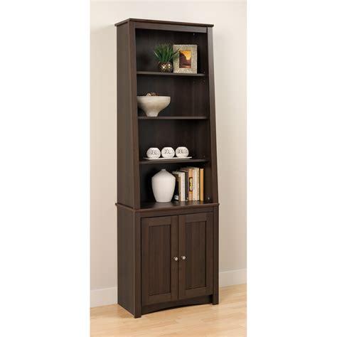 Espresso Bookcase With Doors Prepac Slant Back Bookcase Espresso With 2 Shaker Doors Bookcases At Hayneedle