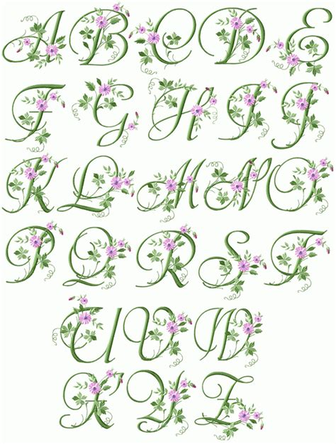 design font elegant abc designs elegant floral initials machine embroidery
