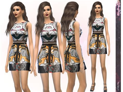design clothes the sims 4 the sims resource designer print dress by simsimay sims