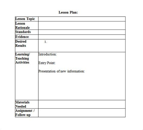 dok lesson plan template 10 sle lesson plans sle templates