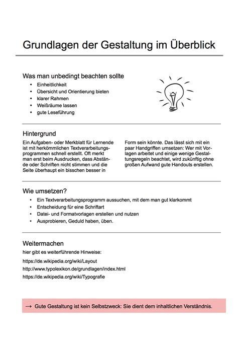 Handout Schreiben Muster Handouts Einfach Sch 246 Ner Machen