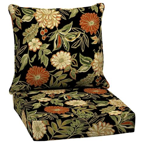 arden outdoor floral black deep seat patio chair cushion  lowescom