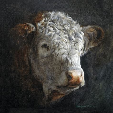 Tattoo Prices Hereford | painting quot polled hereford quot original art by gregory karas