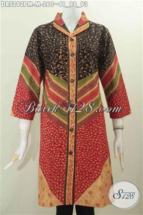 Baju Batik Dress Terusan Wanita Motif Daun Katun Cap Malam Etnik baju dress batik premium model terusan kerah langsung