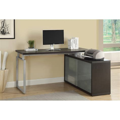 Techni Mobili Graphite Frosted Glass L Shaped Computer Desk Frosted Glass Computer Desk Hostgarcia