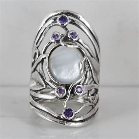 israeli sterling silver ring with of pearl and