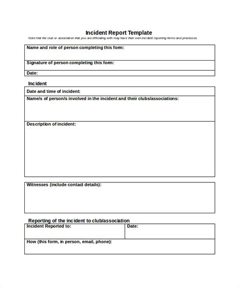incident report template template sle