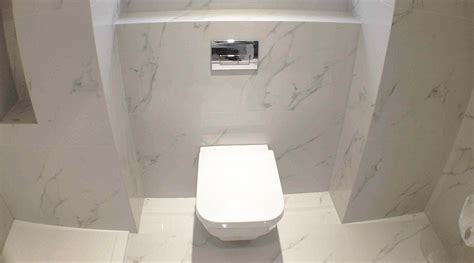 Large Bathroom by White Carrara Marble Effect Tile Transform Bathroom