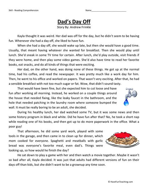 4th Grade Reading Comprehension Worksheets With Answers by Reading Comprehension Worksheet S Day