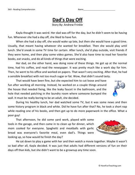 4th grade reading comprehension worksheets choice reading comprehension worksheet s day