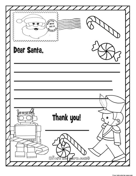 santa list coloring page printable christmas wish list to santa claus for kids for