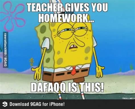 Spongebob Homework Meme - homework dafaq meme slapcaption com funny photos and