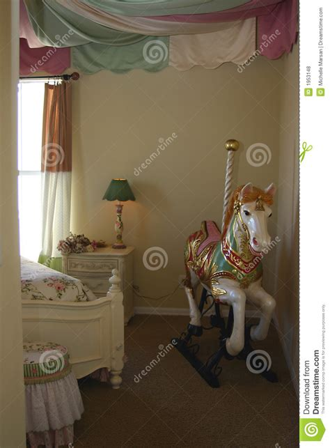 carousel bedroom young girls bedroom with carousel horse stock photo