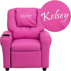 Toddler Recliner Chair Personalized Solid Pink Vinyl Recliner Chair With Cup Holder