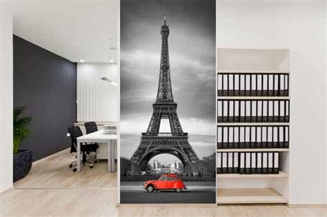 Eiffel Tower Wall Murals fototapeta do przedpokoju red citroen in paris magic amp style