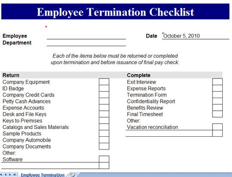 employee termination checklist termination checklist
