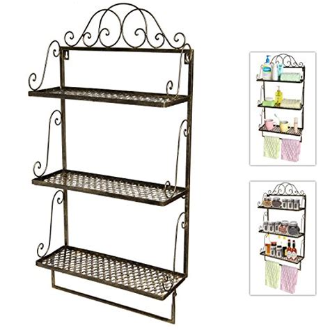 metal bathroom wall shelves rustic brass style vintage scrollwork metal wall mounted 3 shelf storage rack with towel bar